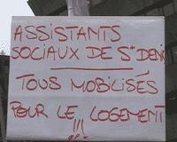 Manifestation des travailleurs sociaux pour le droit au logement pour tous