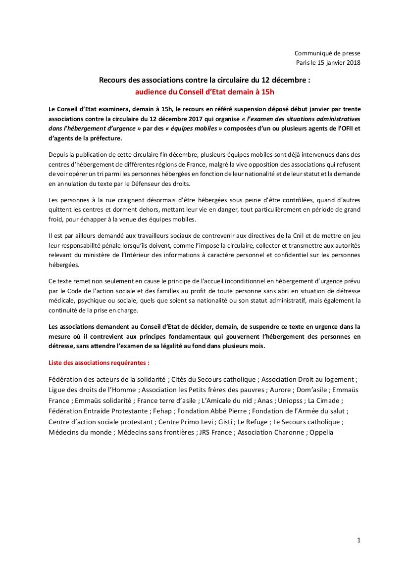 Communiqué commun : Recours des associations contre la circulaire du 12 décembre : audience du Conseil d'Etat demain à 15h