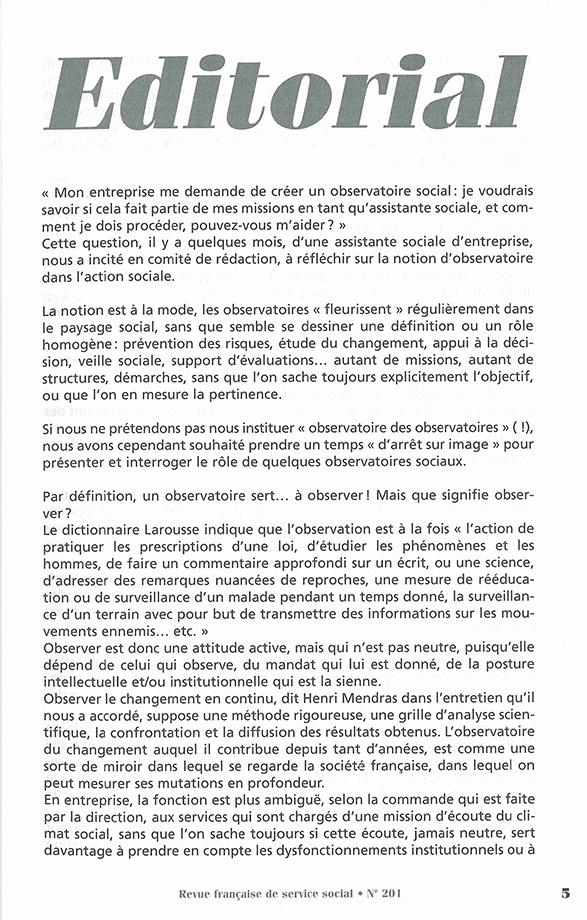 """RFSS N°201 : """"Les observatoires dans l'action sociale"""""""