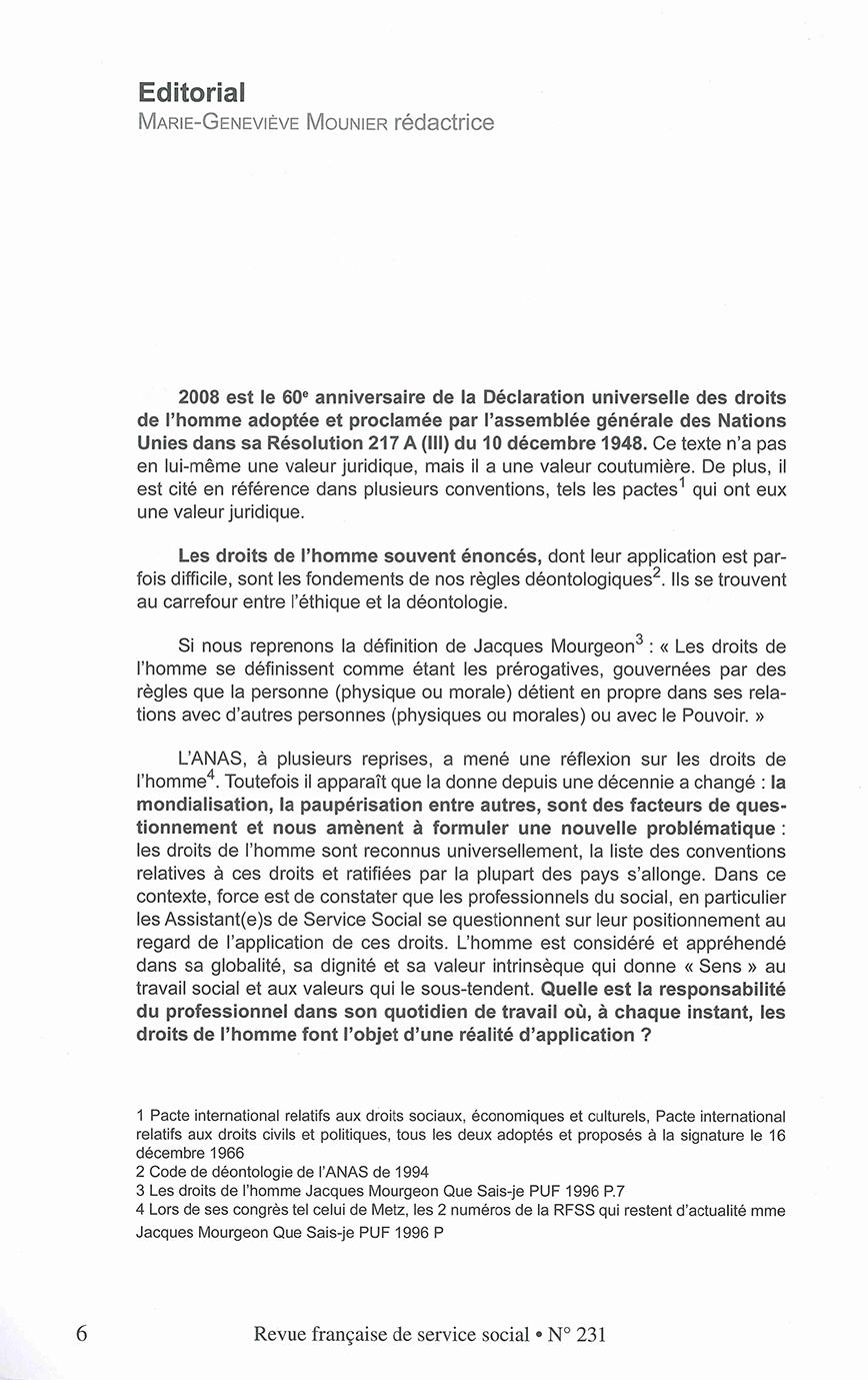 """RFSS N°231 : """"Quelles pratiques professionnelles du travail social en 2008, dans le respect des principes universels des droits de l'homme ?"""""""