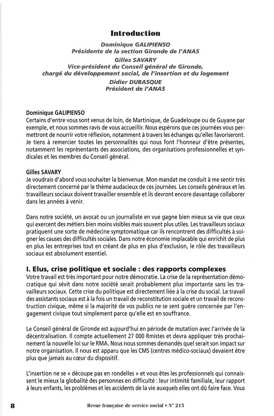 """RFSS N°215 : """"Travail social et démocratie"""""""