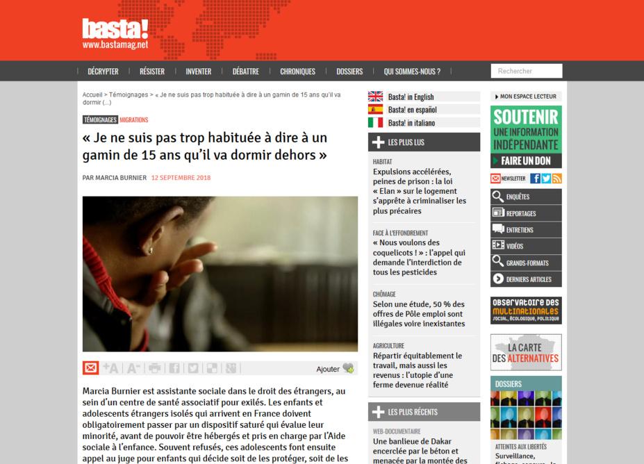 « Je ne suis pas trop habituée à dire à un gamin de 15 ans qu'il va dormir dehors » : Le témoignage de Marcia, assistante sociale dans le droit des étrangers.