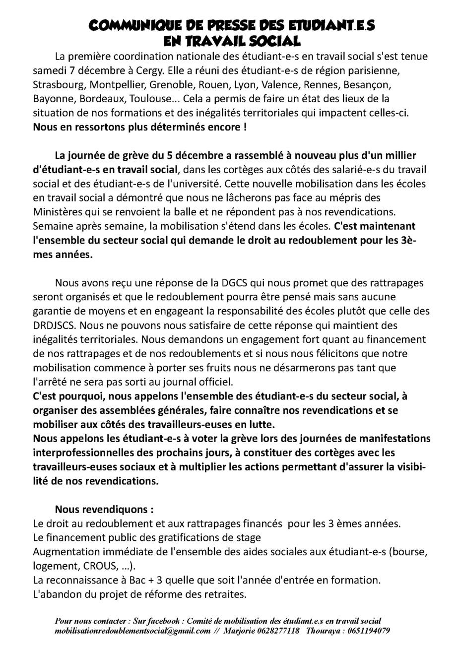 Communique de presse des étudiant.e.s en travail social - 15/12/2019