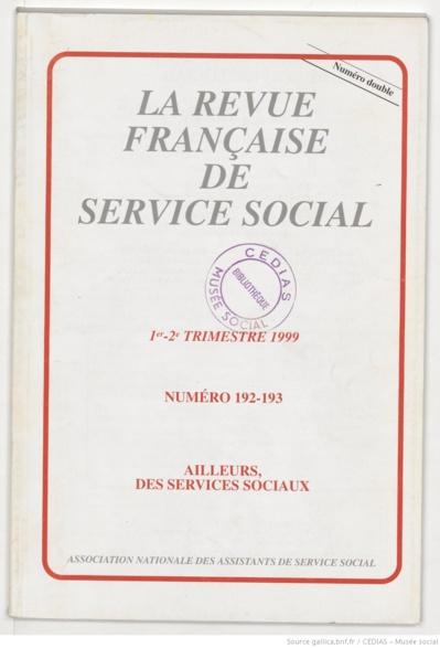 La Revue française de service social n° 192-193 - Juin 1999