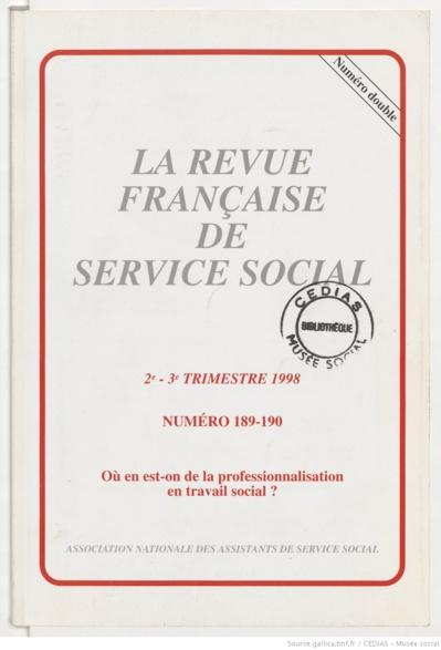 La Revue française de service social n° 189-190 - Septembre 1998