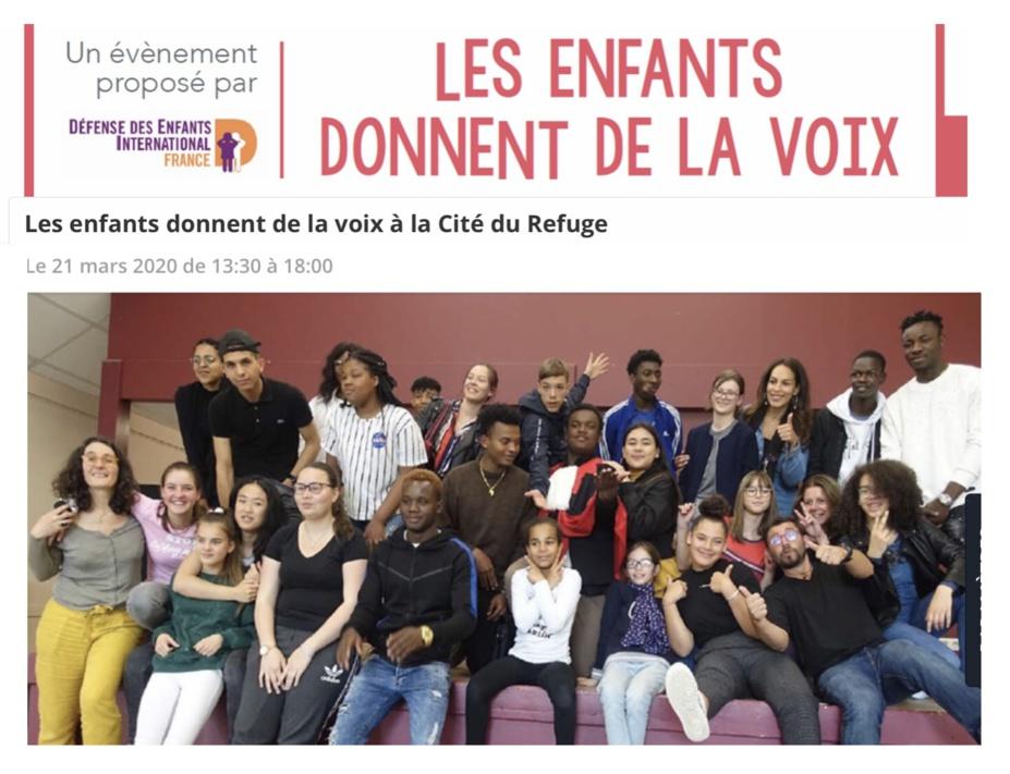 Annulé - 21/03/2020 - Paris - DEI France - Les enfants donnent de la voix