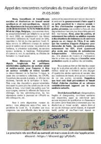 Appel des rencontres nationales du travail social en lutte 21.03.2020