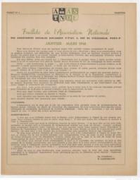 Feuillets de l'Association Nationale des Assistantes Sociales Diplômées d'Etat - Janvier-Mars 1948