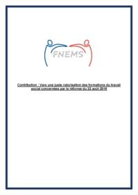 Contribution de la FNEMS : Vers une juste valorisation des formations du travail social concernées par la réforme du 22 août 2018