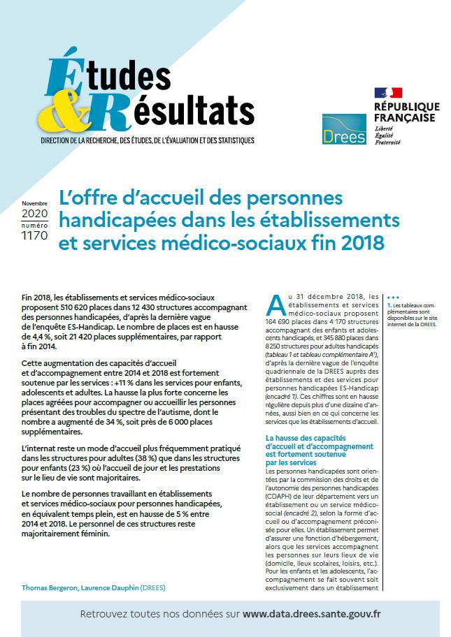 DREES - L'offre d'accueil des personnes handicapées dans les établissements et services médico-sociaux fin 2018