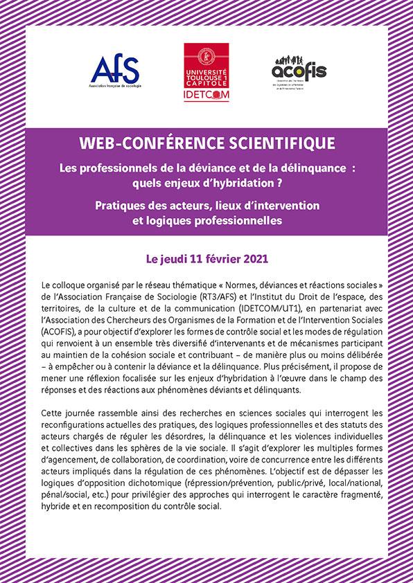 WEB - CONFERENCE SCIENTIFIQUE : Les professionnels de la déviance et de la délinquance : quels enjeux d'hybridation ? Pratiques des acteurs, lieux d'intervention et logiques professionnelles