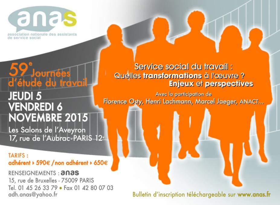 JET 2015 : Service Social du Travail - Quelles transformations à l'oeuvre ? Enjeux et Perspectives