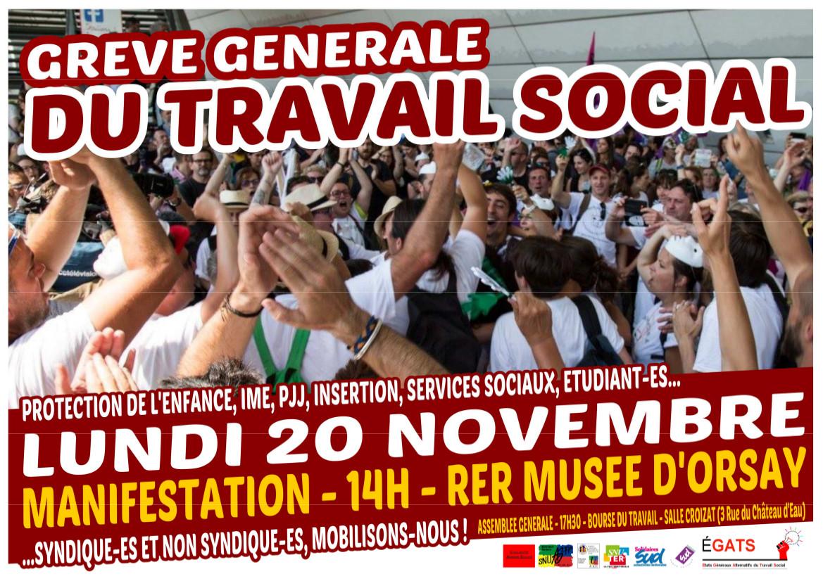 Journée de mobilisation du 20 novembre pour le travail social