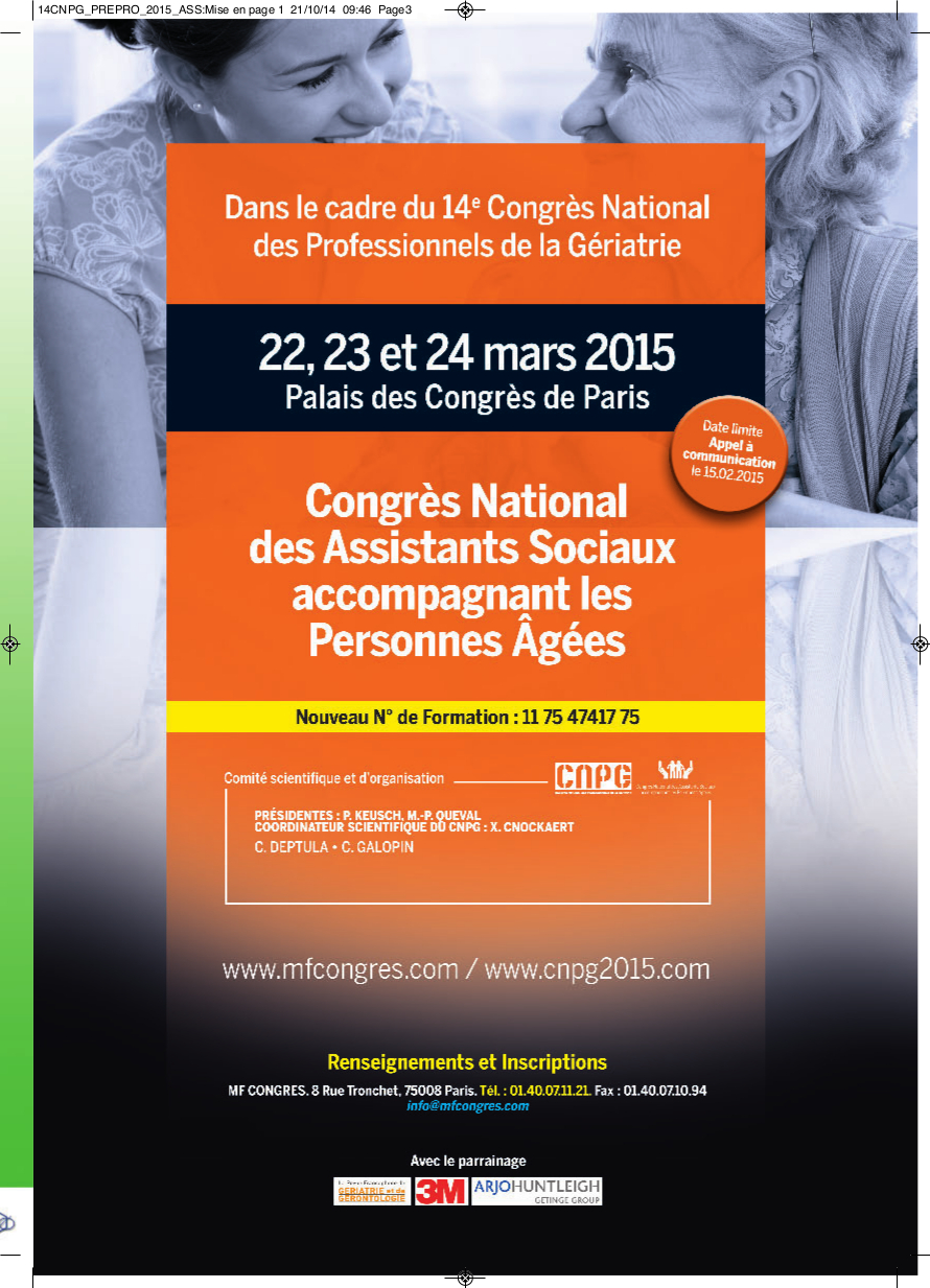 2e Congrès National des Assistants Sociaux accompagnant les personnes âgées