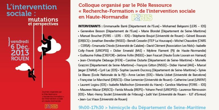 Journée d'étude « L'intervention sociale : mutations et perspectives » le 6 décembre 2013 à Rouen