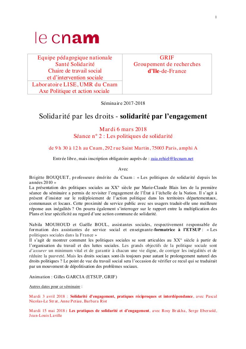 """Programme séminaire Grif-Lise-Cnam 2017-2018 """"Solidarité par les droits - solidarité par l'engagement"""""""