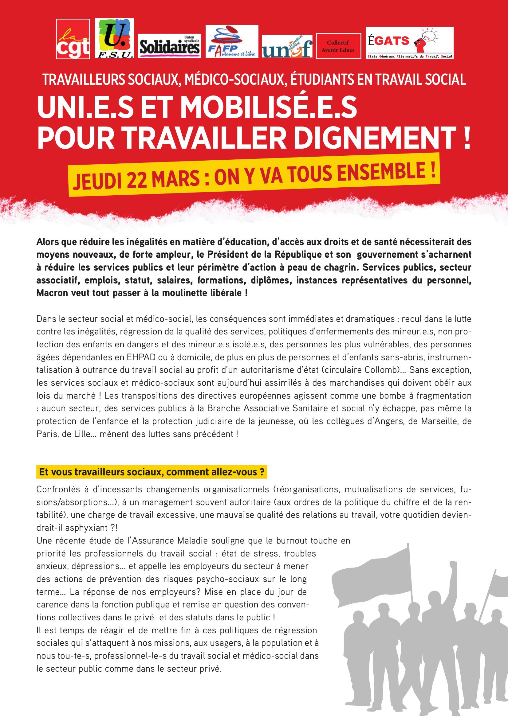 Appel à la grève du 22 mars 2018
