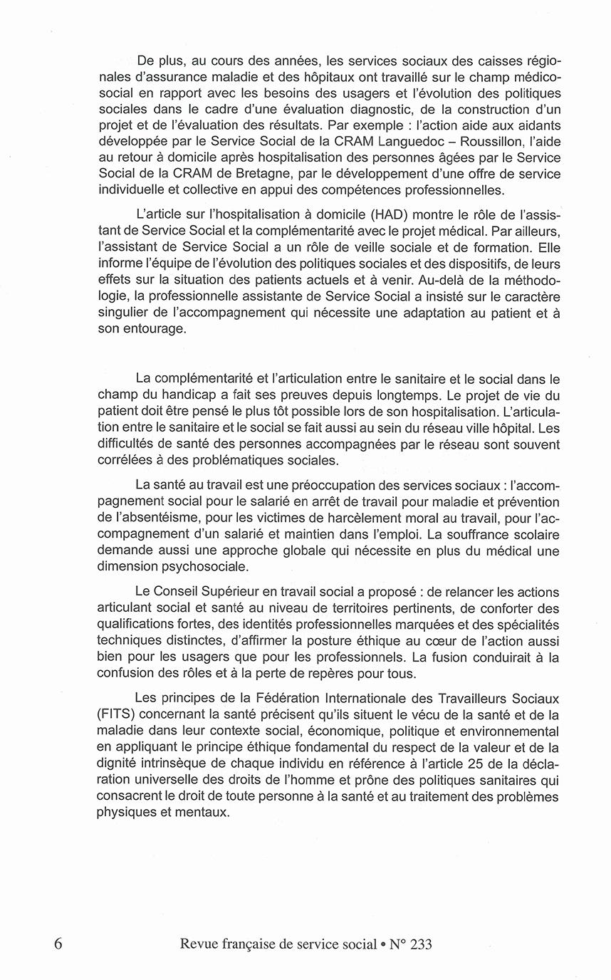 """RFSS N°233 : """"Articulation entre le sanitaire et le social : Valeurs - Éthique Territoires de santé"""""""