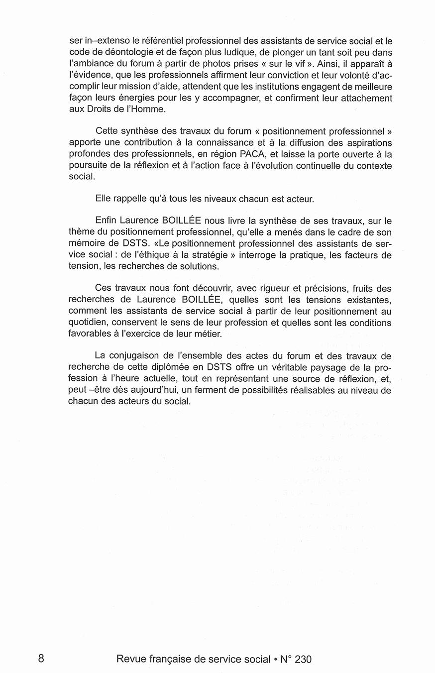 """RFSS N°230 : """"Positionnement professionnel : face aux mutations, mobilisons nos compétences - Actes du forum"""""""