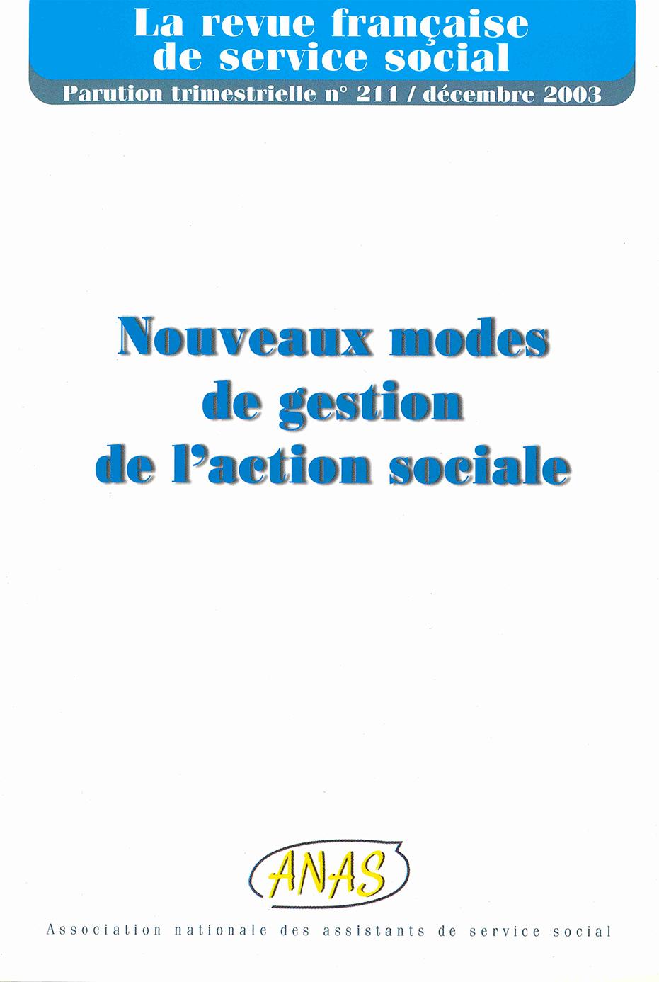 """RFSS N°211 : """"Nouveaux modes de gestion de l'action sociale"""""""