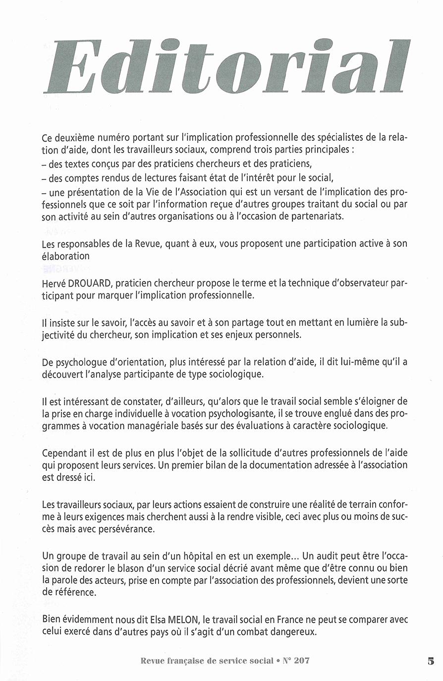 """RFSS N°207 : """"Des professionnels impliqués"""""""