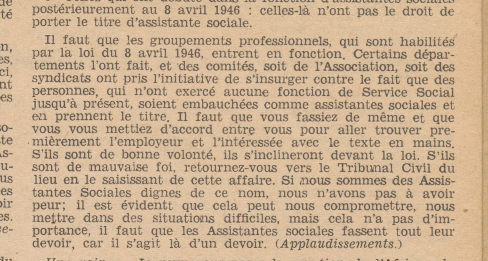 Feuillets de l'Association nationale des assistantes sociales et des assistants sociaux, Association nationale des assistants de service social, Paris, 1947, n° 1947-01, p. 6.