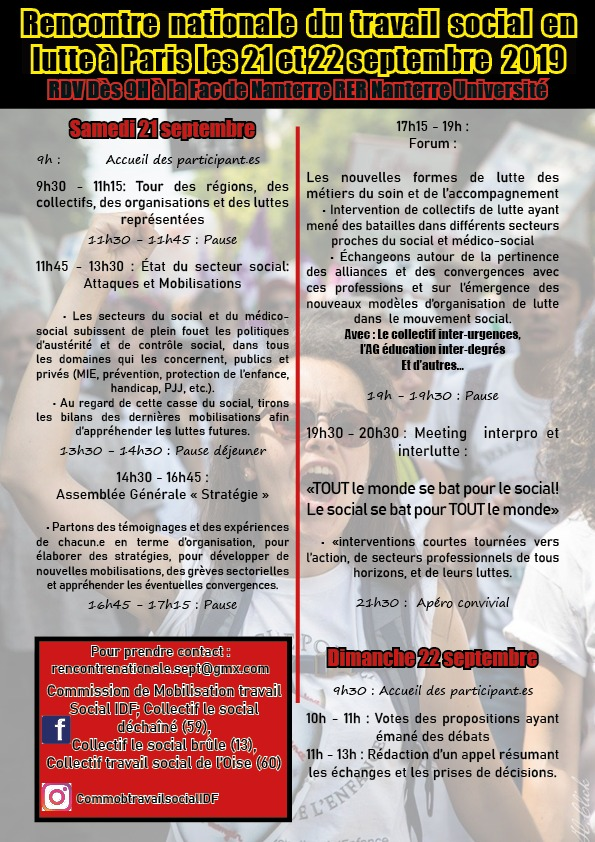 Rencontres nationales du travail social en lutte les 21 et 22 septembre 2019 à Paris