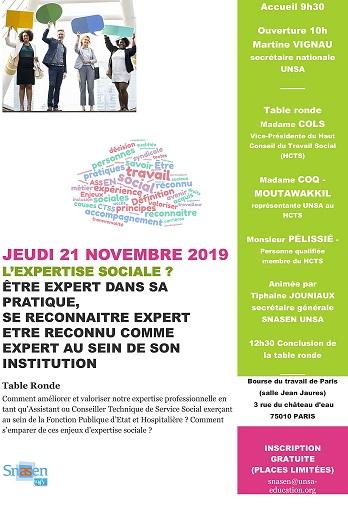 21/11/2019 - Paris - Table ronde organisée par le SNASEN-UNSA : l'Expertise Sociale