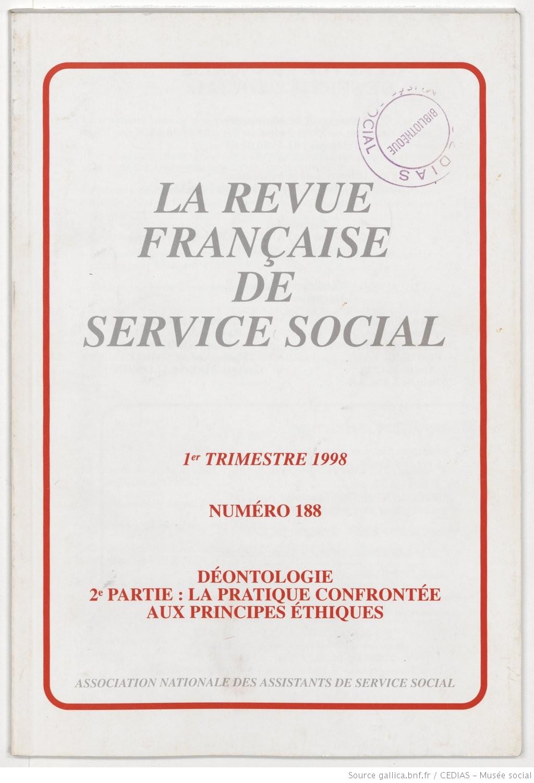 La Revue française de service social n° 188 - Mars 1998
