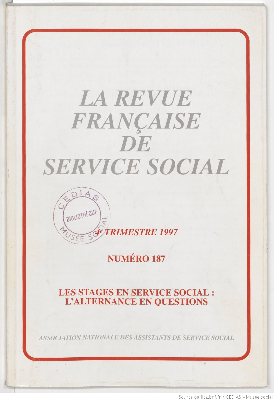 La Revue française de service social n° 187 - Décembre 1997