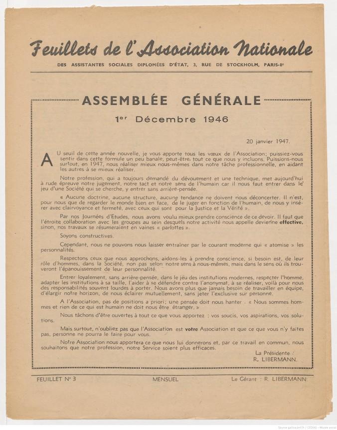 Feuillets de l'Association Nationale des Assistantes Sociales Diplômées d'Etat - Janvier 1947