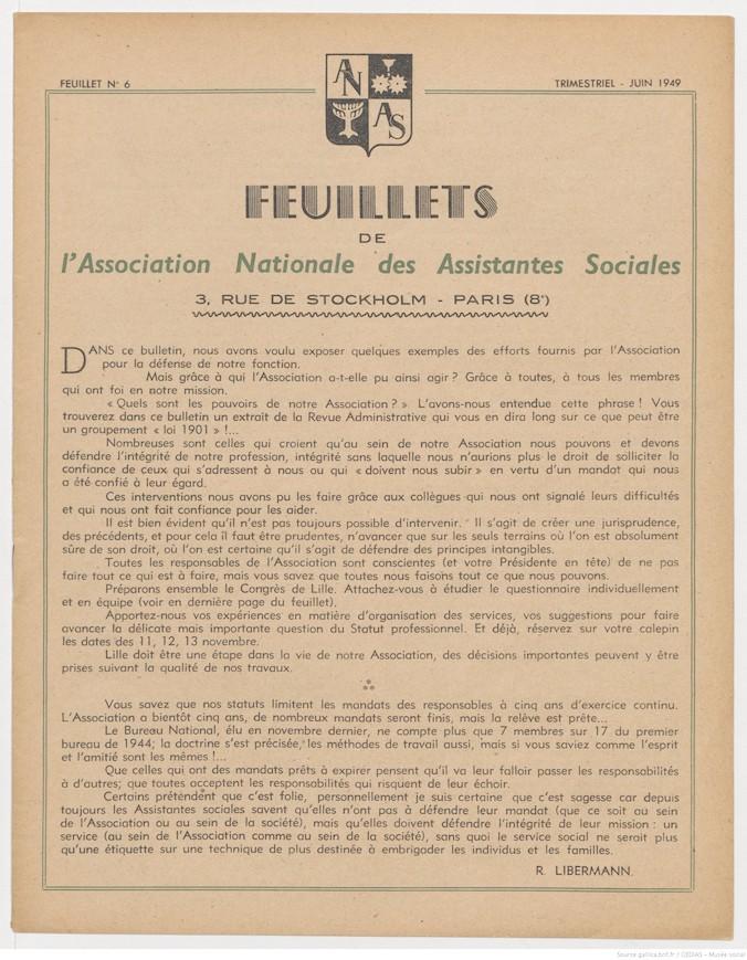 Feuillets de l'Association Nationale des Assistantes Sociales Diplômées d'Etat - Juin 1949