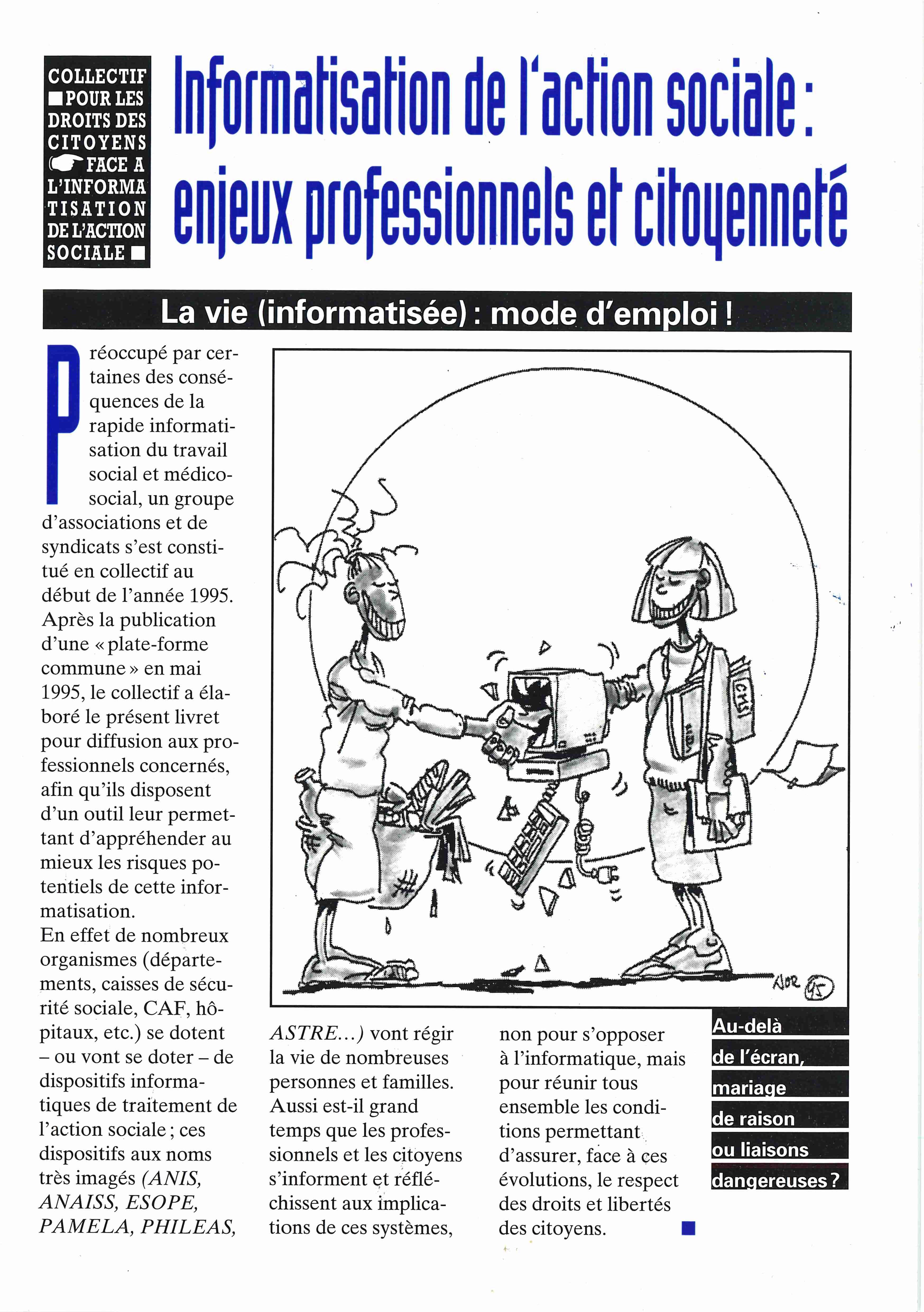 Brochure Informatisation de l'action sociale : enjeux professionnels et citoyenneté - Octobre 1996