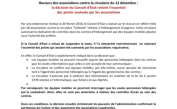 Communiqué commun : Recours des associations contre la circulaire du 12 décembre : la décision du Conseil d'Etat retient l'essentiel des points soulevés par les associations