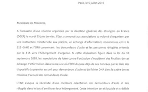Lettre aux ministres de l'intérieur et du logement sur le projet de transmission d'informations nominatives entre le 115-SIAO et l'OFII
