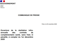 Ouverture de la résiliation infra-annuelle des contrats de complémentaire santé, sans frais ni pénalité